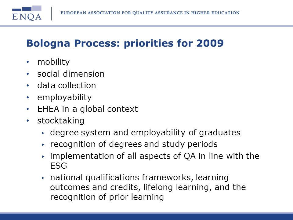 Bologna Process: priorities for 2009