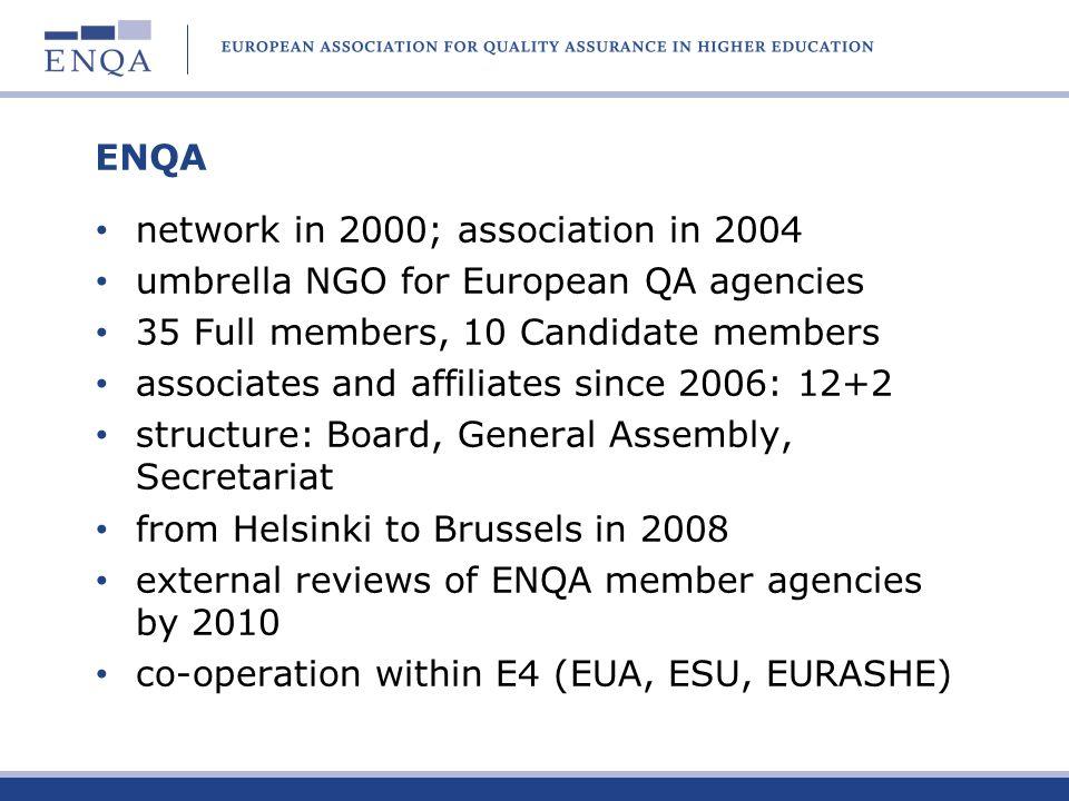 ENQA network in 2000; association in 2004. umbrella NGO for European QA agencies. 35 Full members, 10 Candidate members.