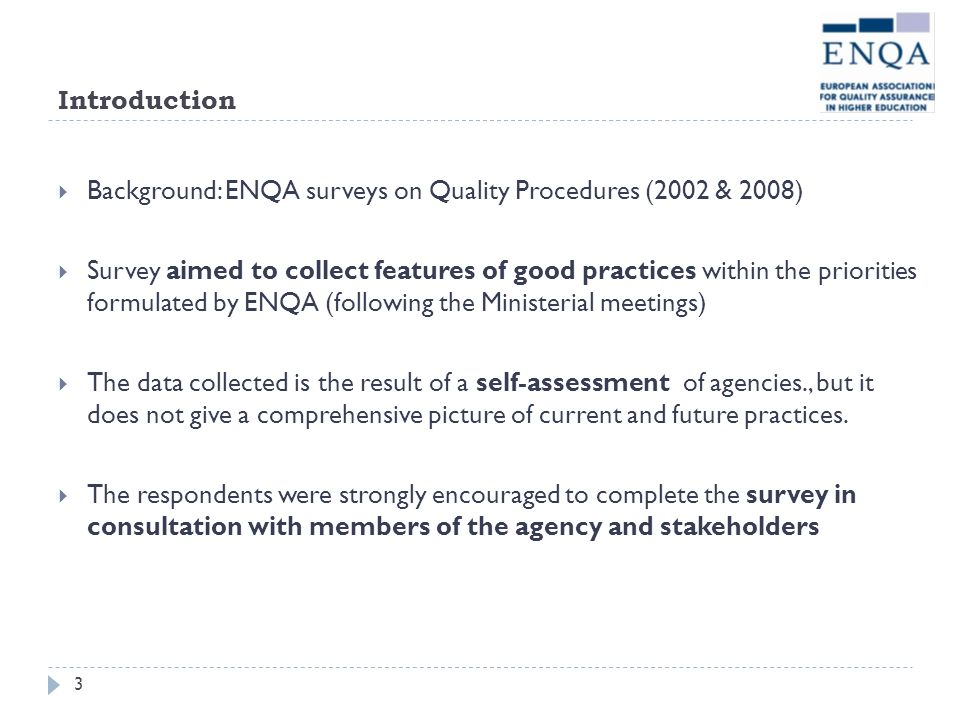 Introduction Background: ENQA surveys on Quality Procedures (2002 & 2008)
