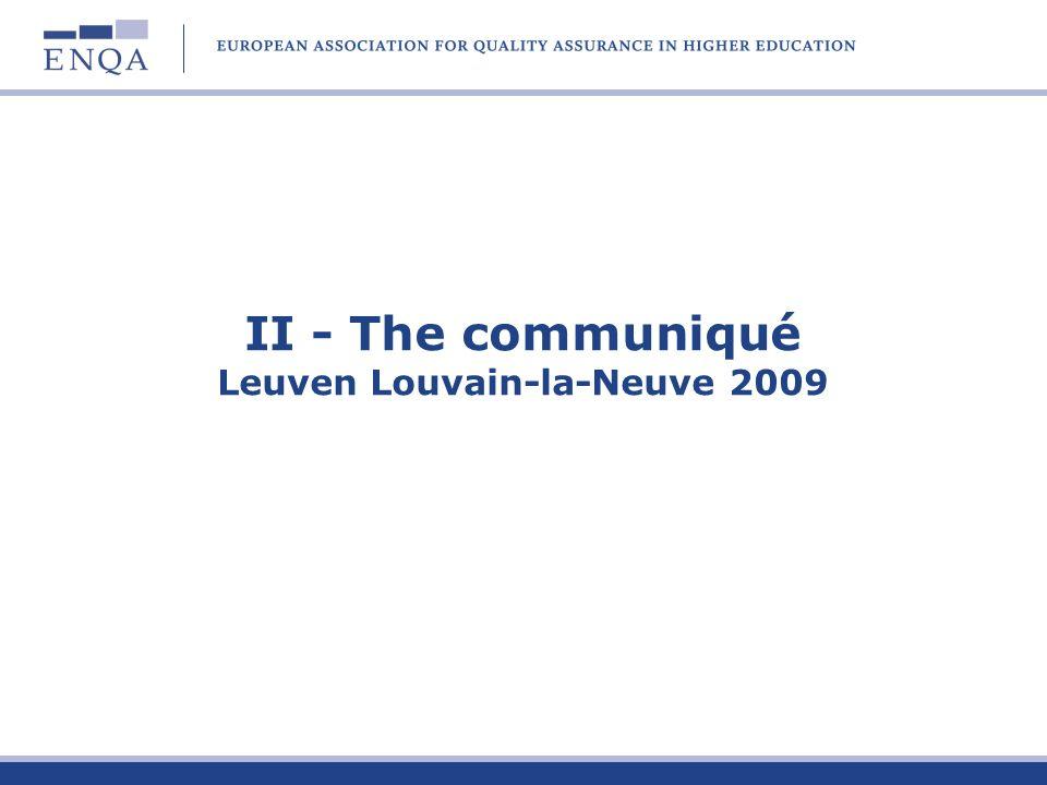 II - The communiqué Leuven Louvain-la-Neuve 2009