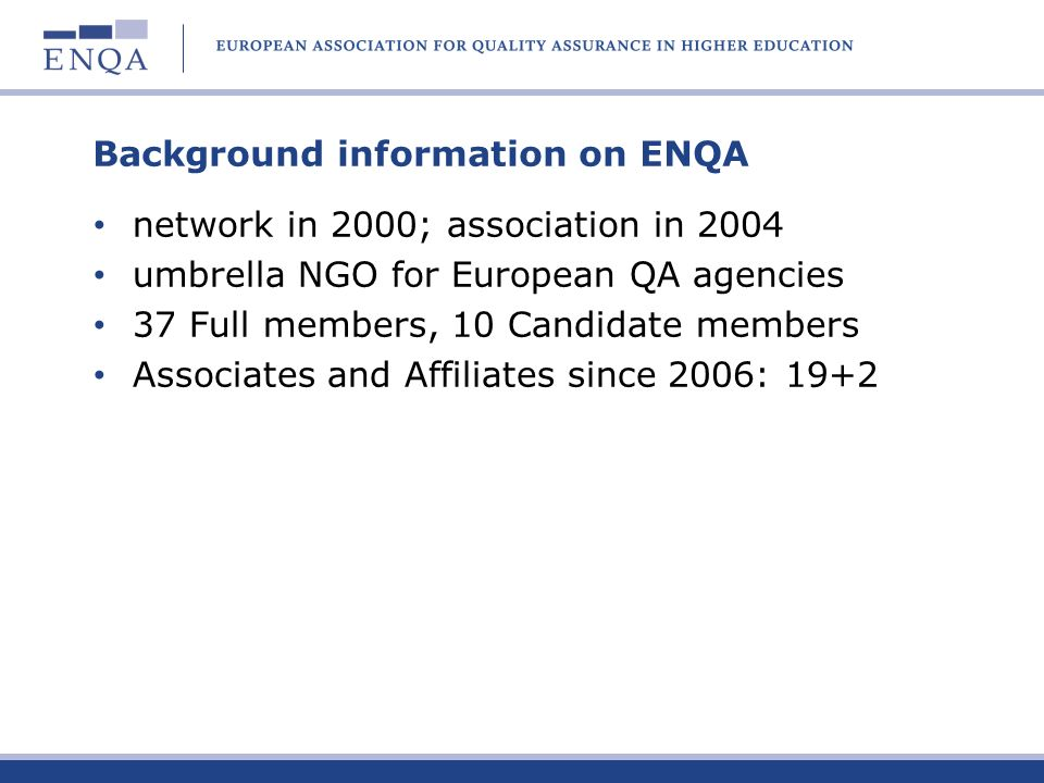 Background information on ENQA