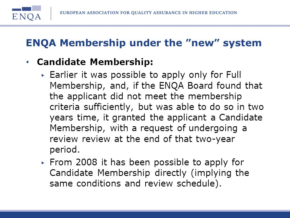 ENQA Membership under the new system