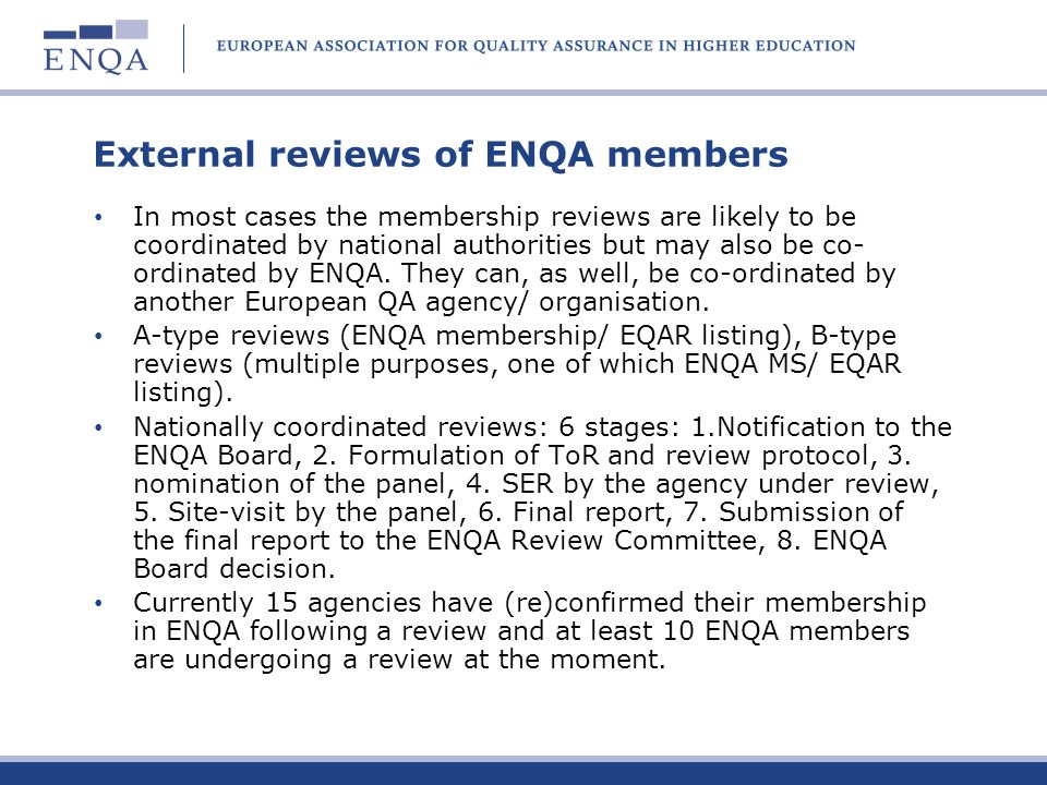 External reviews of ENQA members