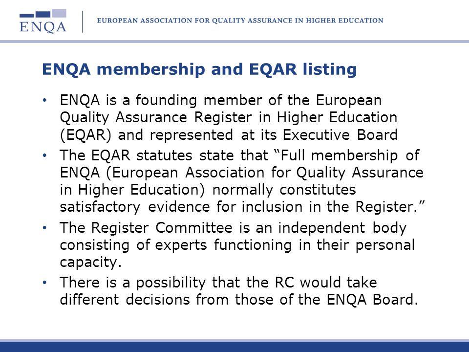 ENQA membership and EQAR listing