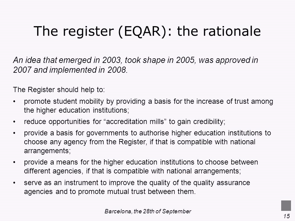 The register (EQAR): the rationale
