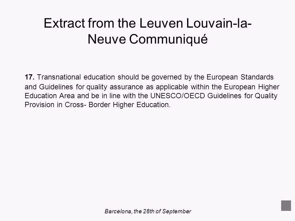 Extract from the Leuven Louvain-la-Neuve Communiqué