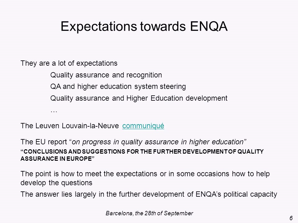 Expectations towards ENQA