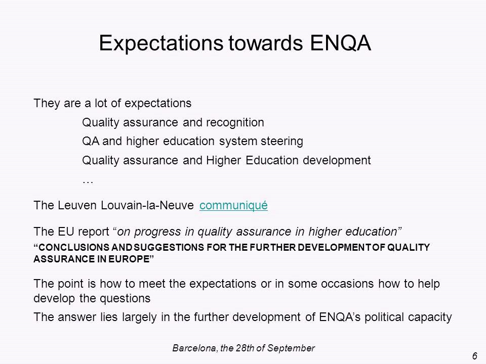 Expectations towards ENQA