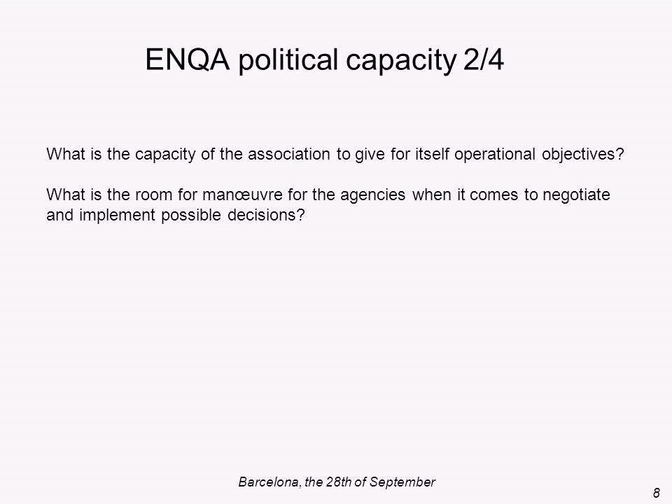 ENQA political capacity 2/4