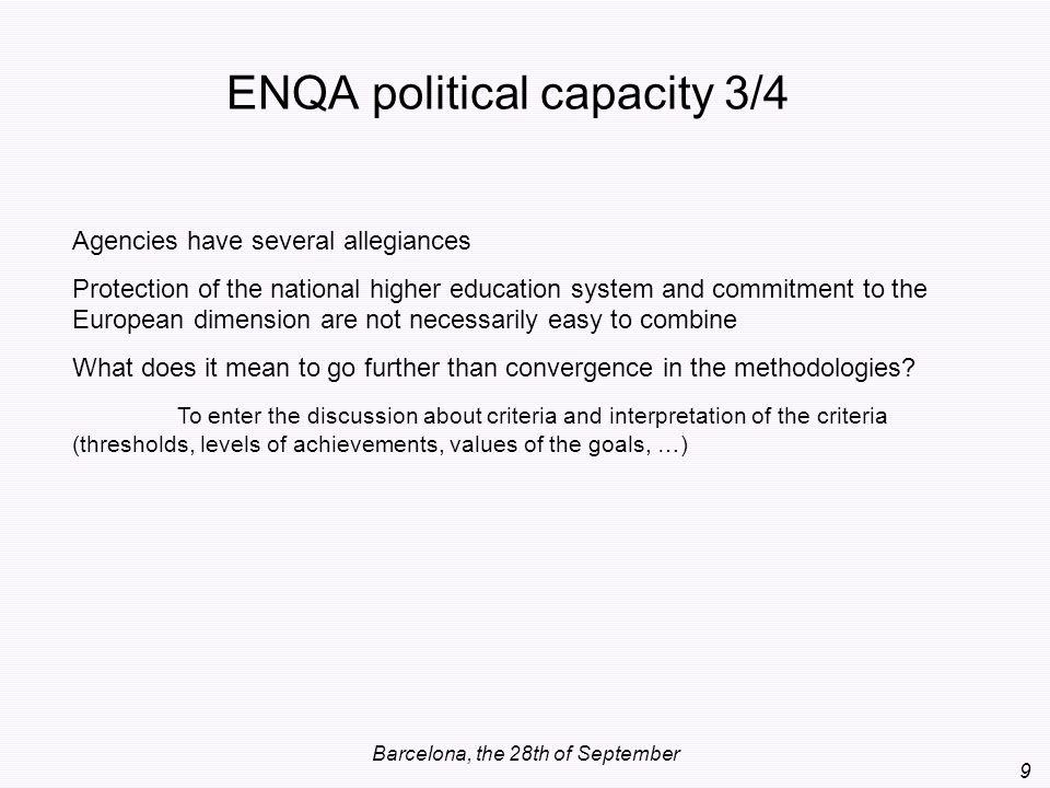 ENQA political capacity 3/4