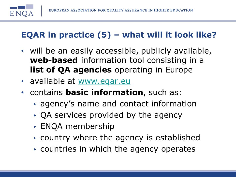 EQAR in practice (5) – what will it look like