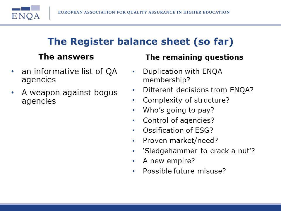 The Register balance sheet (so far)