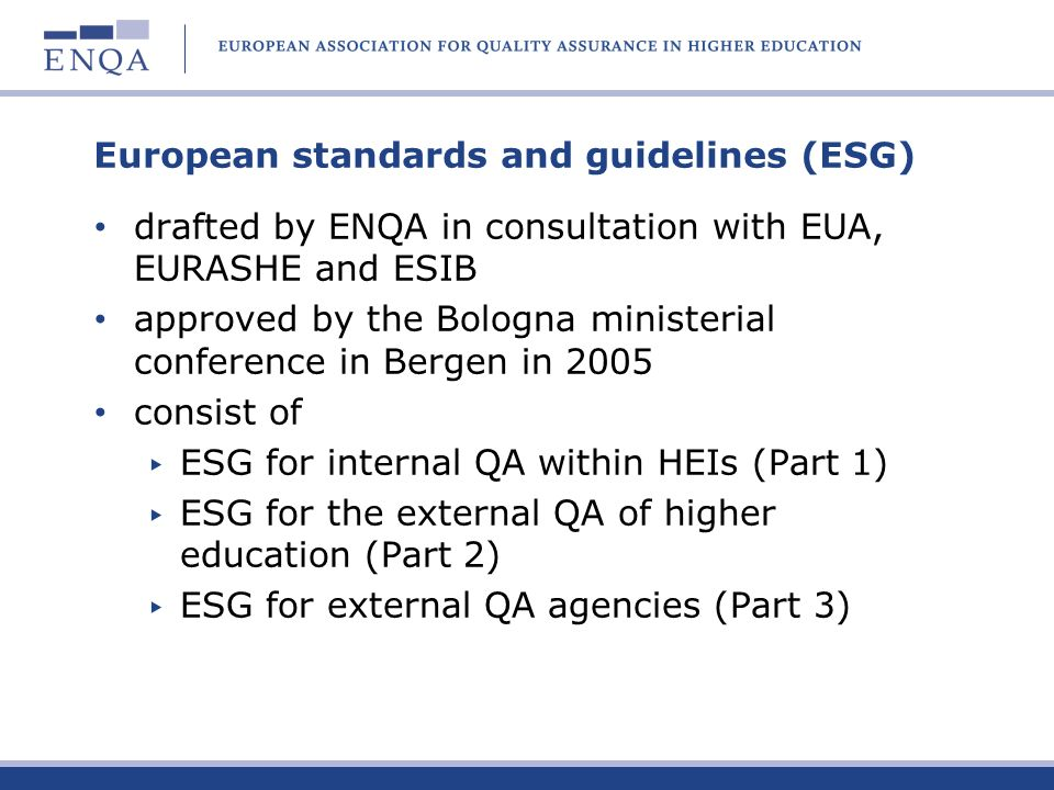 European standards and guidelines (ESG)