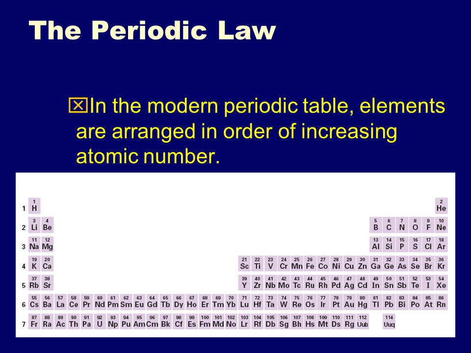 The periodic table topic 5 click for song ppt video online download 61 the periodic law in the modern periodic table elements are arranged in order urtaz Gallery