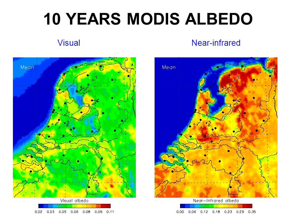 10 YEARS MODIS ALBEDO Visual Near-infrared