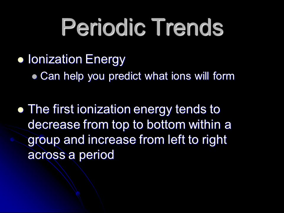 Periodic Trends Ionization Energy