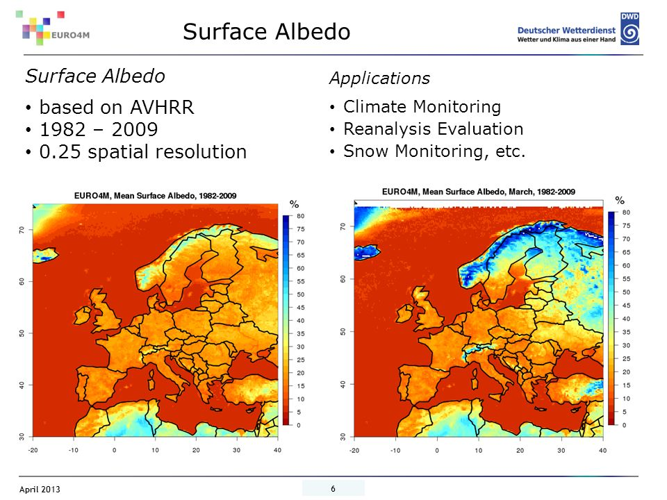 Surface Albedo Surface Albedo based on AVHRR 1982 – 2009