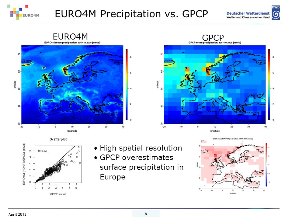 EURO4M Precipitation vs. GPCP