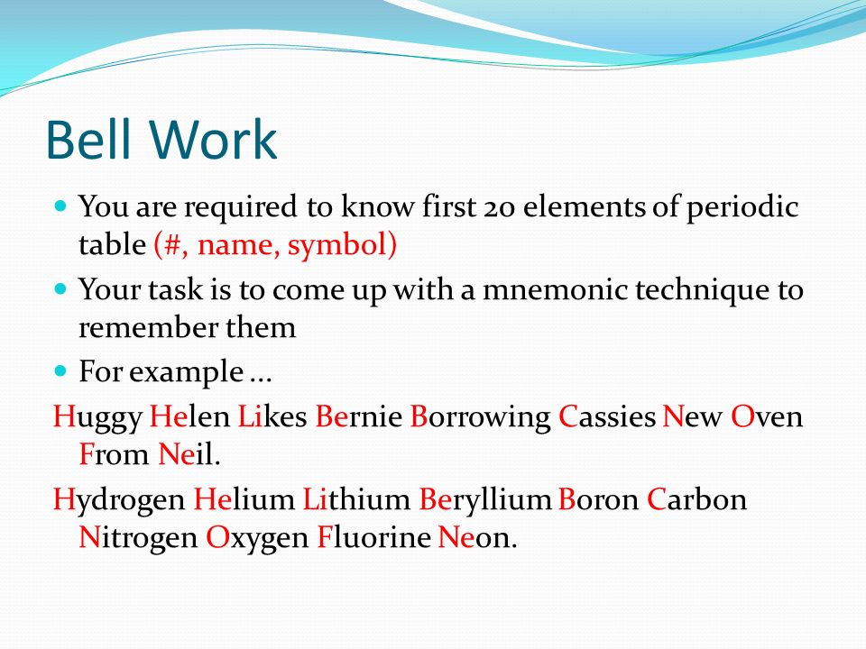 Bell Work You Are Required To Know First 20 Elements Of Periodic Table