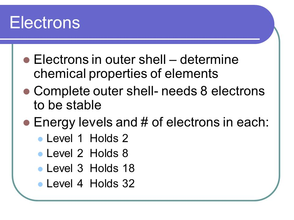 Electrons Electrons in outer shell – determine chemical properties of elements. Complete outer shell- needs 8 electrons to be stable.