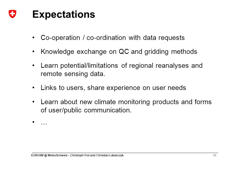 Expectations Co-operation / co-ordination with data requests