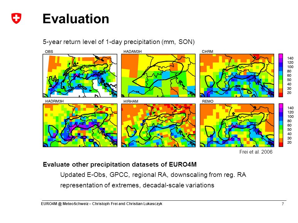 Evaluation 5-year return level of 1-day precipitation (mm, SON)