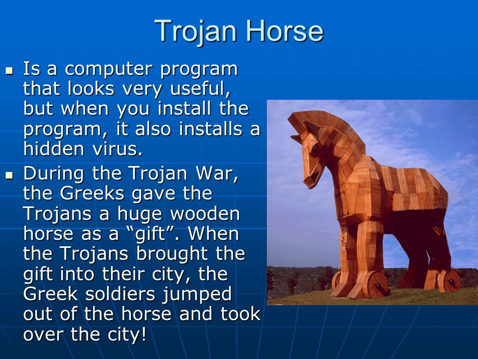 trojan horse now and then essay The trojan horse is a story from the trojan war about the subterfuge that the greeks used to enter the independent city of troy and win the war in the canonical version, after a fruitless 10-year siege, the greeks constructed a huge wooden horse, and hid a select force of men inside.