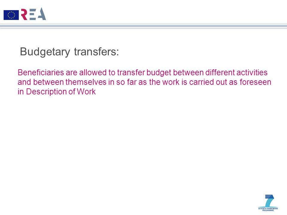 Budgetary transfers: