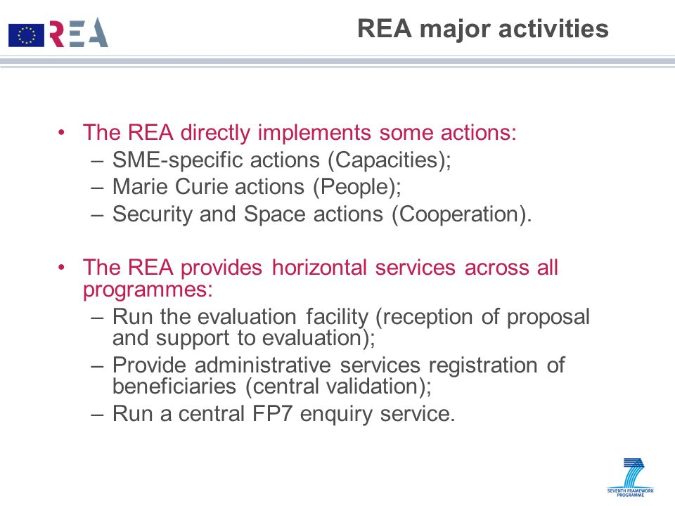 REA major activities The REA directly implements some actions: