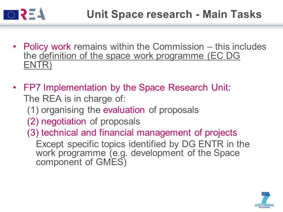 Unit Space research - Main Tasks