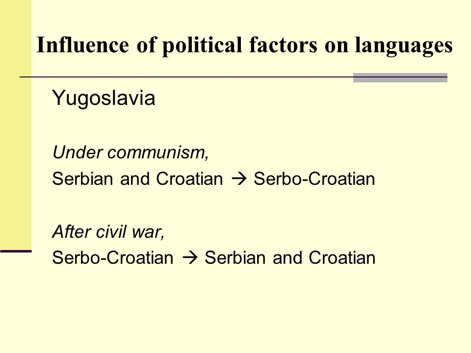 Influence of political factors on languages