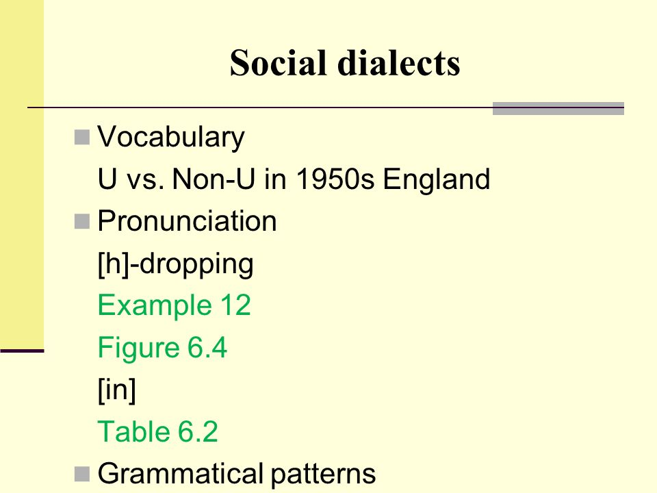 Social dialects Vocabulary U vs. Non-U in 1950s England Pronunciation