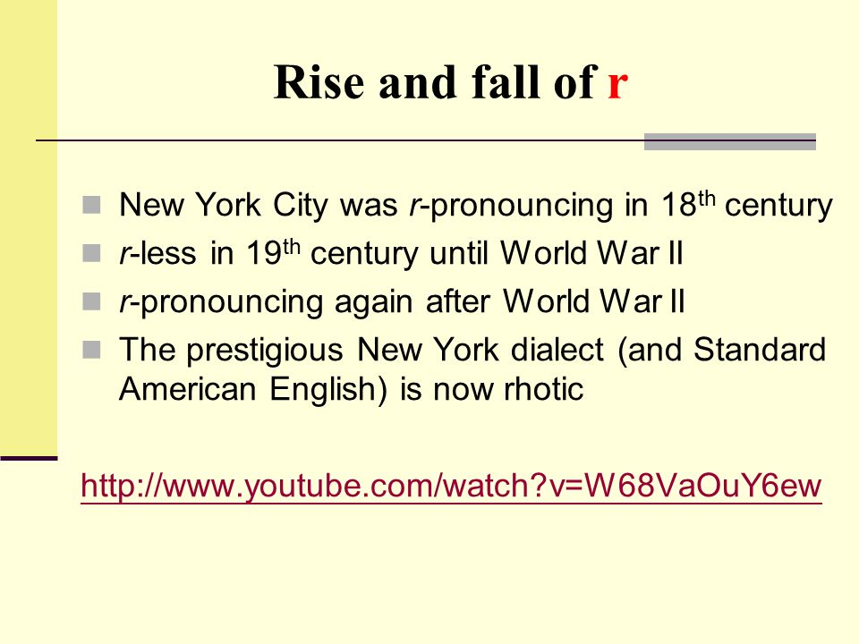 Rise and fall of r New York City was r-pronouncing in 18th century