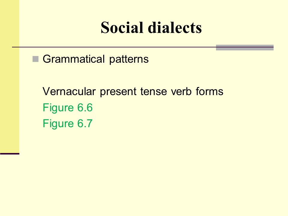 Social dialects Grammatical patterns