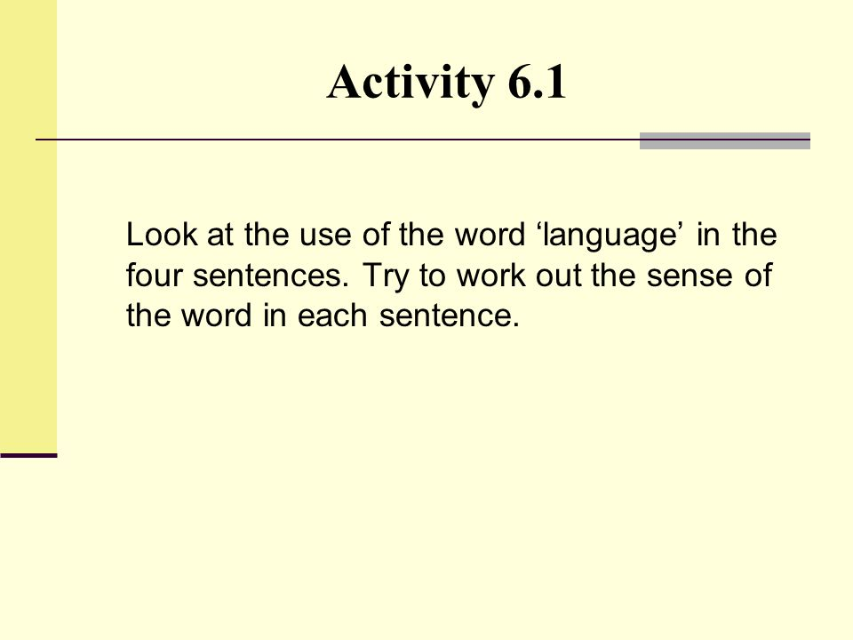 Activity 6.1 Look at the use of the word 'language' in the four sentences.