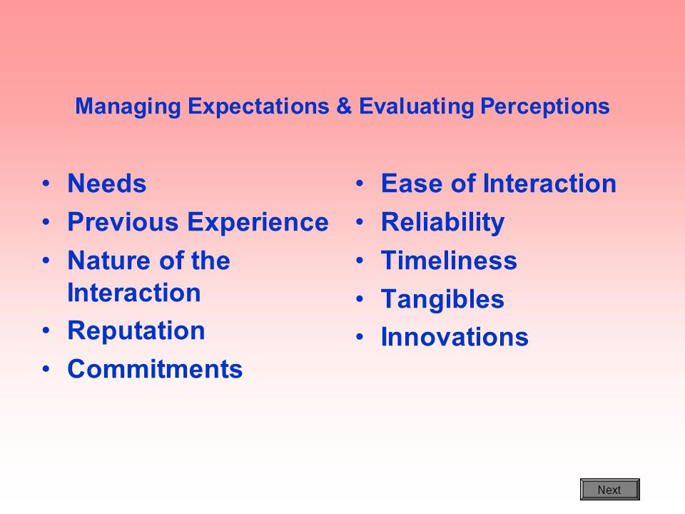 Managing Expectations & Evaluating Perceptions