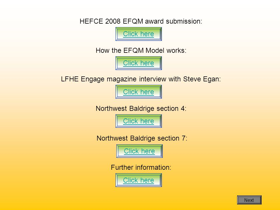HEFCE 2008 EFQM award submission:
