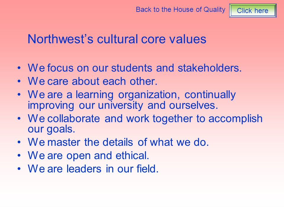 Northwest's cultural core values
