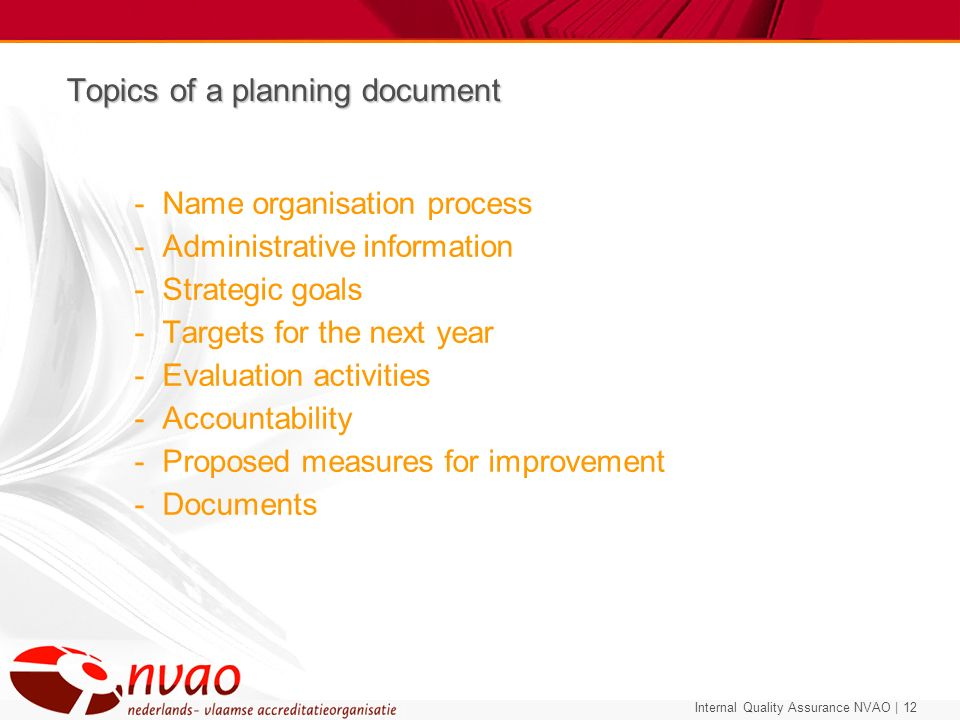 Topics of a planning document