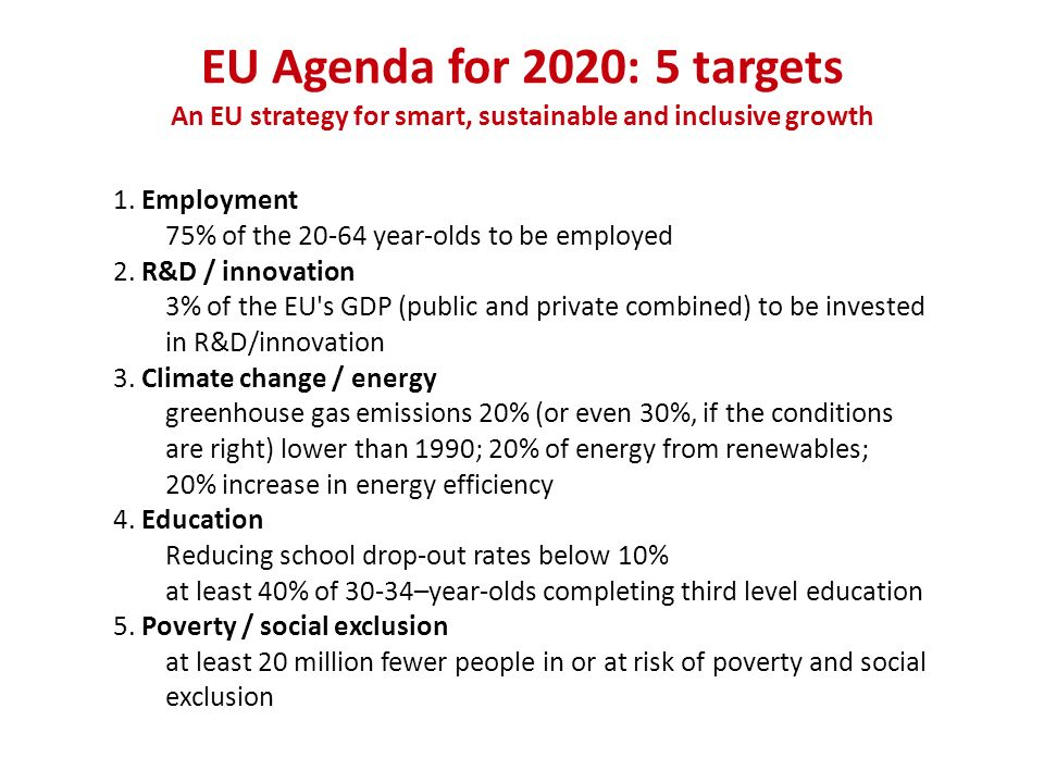 An EU strategy for smart, sustainable and inclusive growth