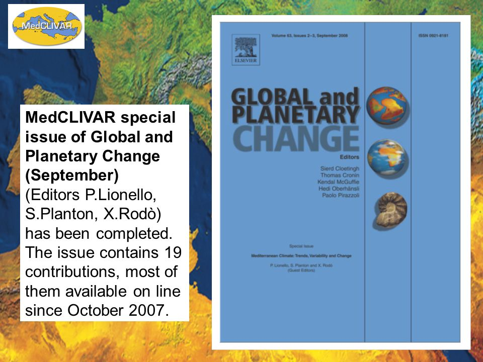 MedCLIVAR special issue of Global and Planetary Change (September)