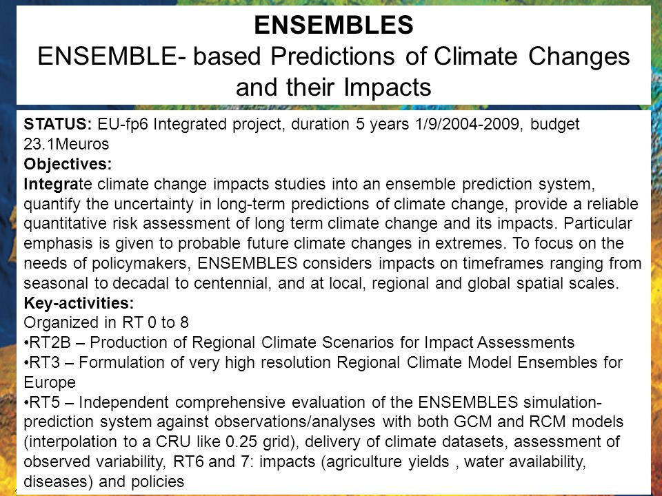 ENSEMBLE- based Predictions of Climate Changes