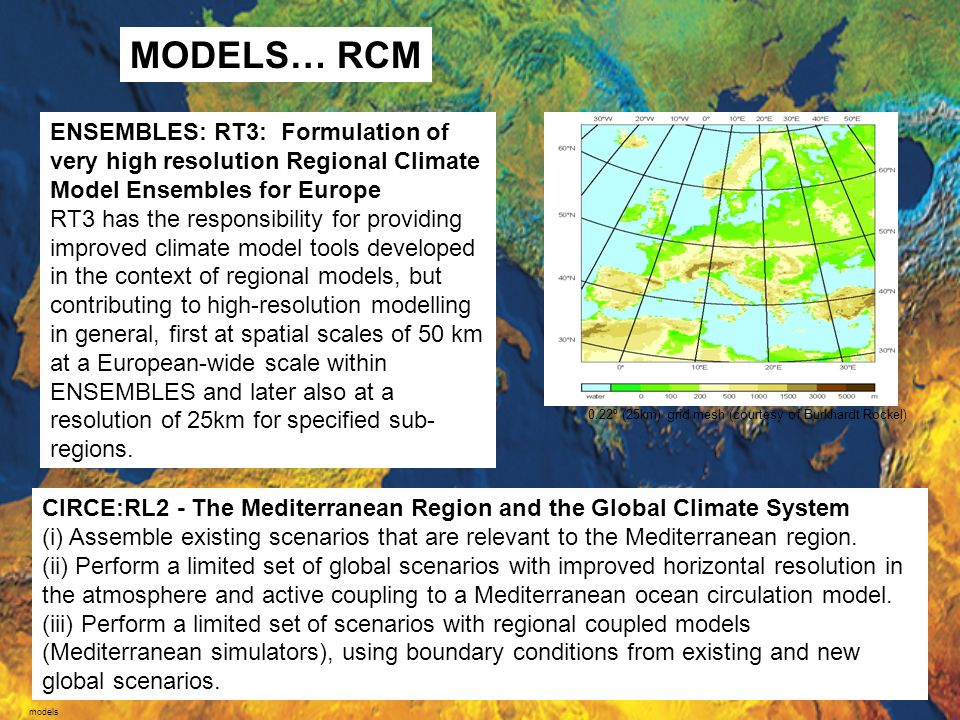 MODELS… RCM ENSEMBLES: RT3: Formulation of very high resolution Regional Climate Model Ensembles for Europe.