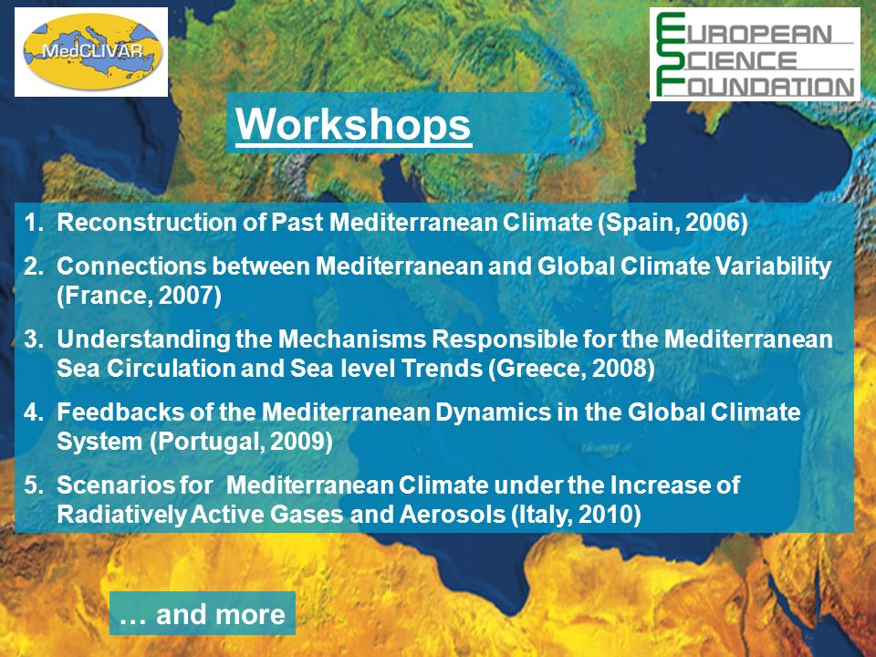 Workshops Reconstruction of Past Mediterranean Climate (Spain, 2006) Connections between Mediterranean and Global Climate Variability (France, 2007)
