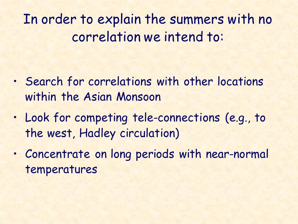 In order to explain the summers with no correlation we intend to: