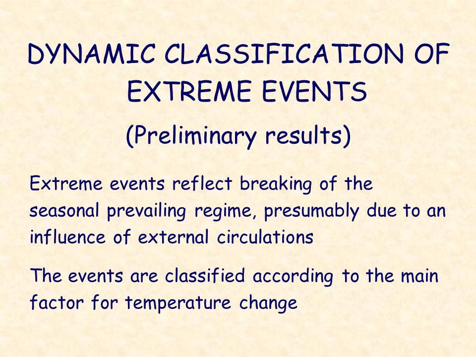 DYNAMIC CLASSIFICATION OF EXTREME EVENTS