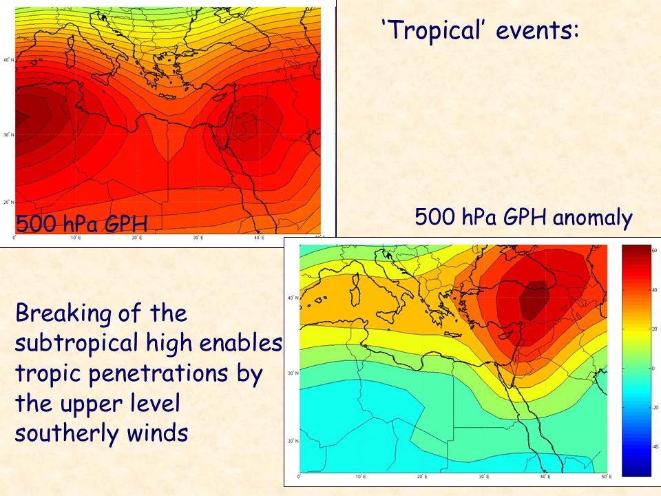 'Tropical' events: 500 hPa GPH anomaly. 500 hPa GPH.