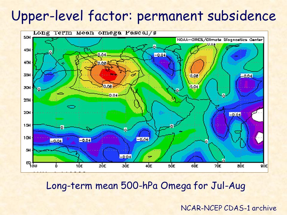 Long-term mean 500-hPa Omega for Jul-Aug