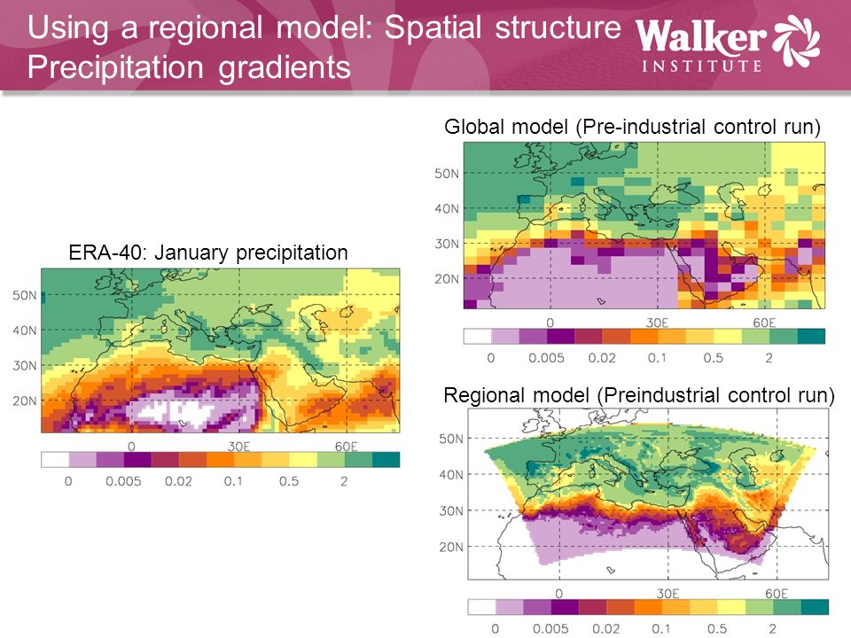 Using a regional model: Spatial structure Precipitation gradients