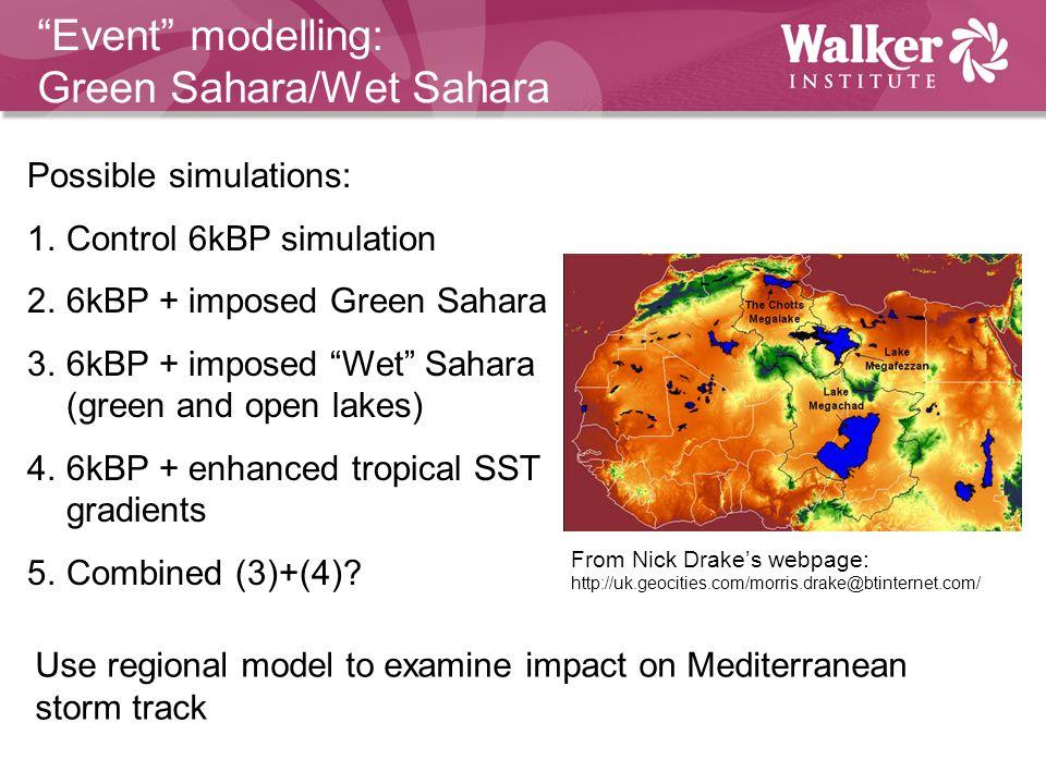 Event modelling: Green Sahara/Wet Sahara